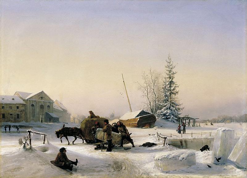 Возка льда 1849 холст масло 68х96 см. часть 1 - русских и советских худ Русские и советские художники