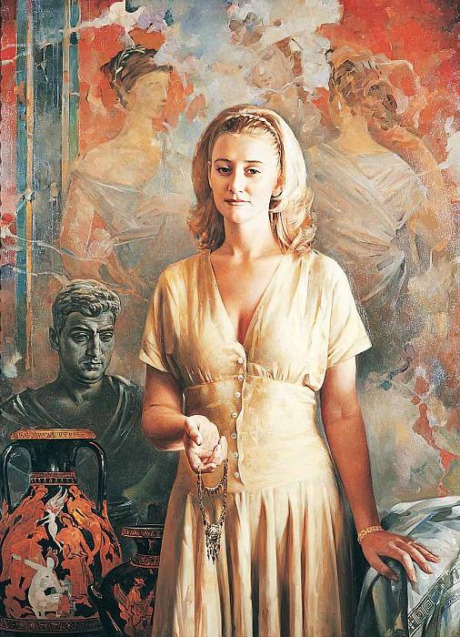 Женский портрет на фоне античной живописи Холст масло 150 х 125 см 1997 г. часть 1 - русских и советских худ Русские и советские художники