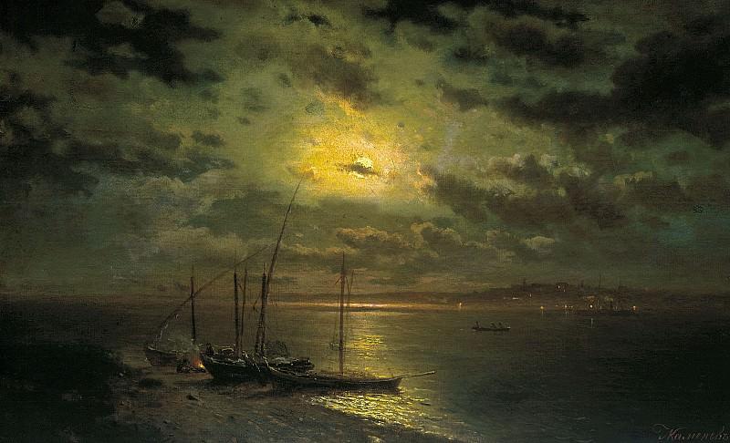Лунная ночь на реке 1870 е Холст масло 53х86 см. часть 1 - русских и советских худ Русские и советские художники