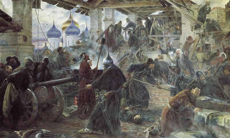 Оборона Троице Cергиевой лавры 1894 холст масло 138х221 см. часть 1 - русских и советских худ Русские и советские художники