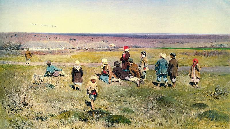 Журавли летят 1891 холст масло 620х110 см. часть 1 - русских и советских худ Русские и советские художники