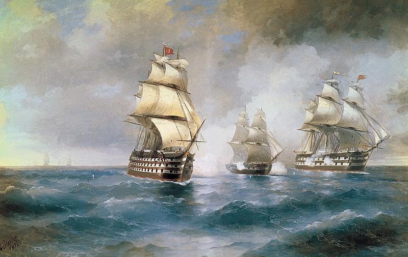 Бриг «Меркурий» атакованный двумя турецкими кораблями 1892 Холст масло. часть 1 - русских и советских худ Русские и советские художники