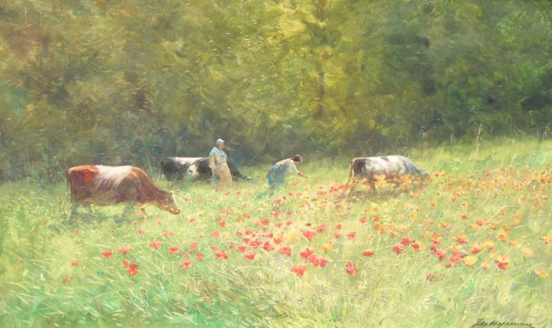 Maurice HAGEMANS Poppies in the field 116299 617. часть 4 -- European art Европейская живопись
