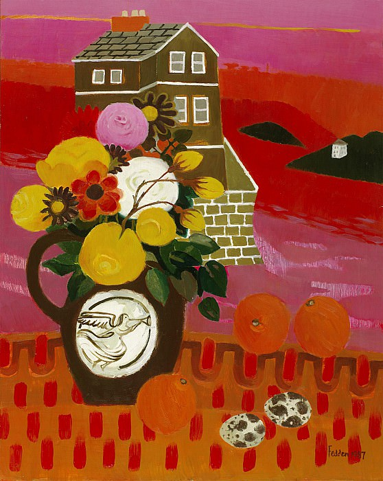 Mary Fedden Flowers in a landscape 98280 20. часть 4 -- European art Европейская живопись