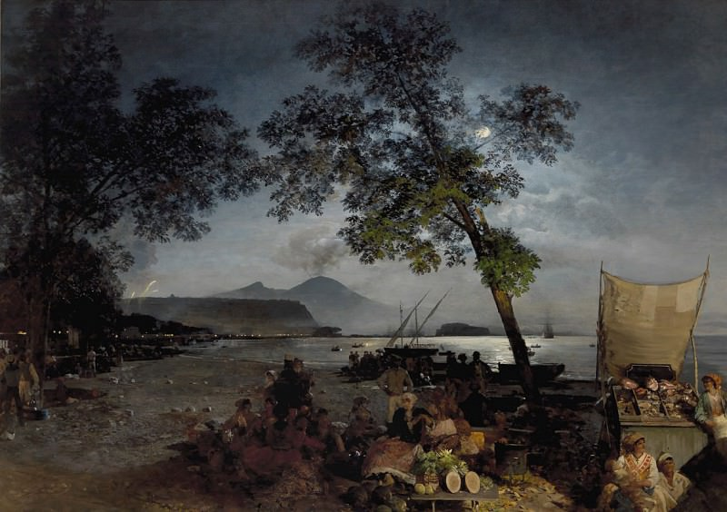 Oswald Achenbach Moonlit Scene of the Bay of Naples 36732 184. часть 4 -- European art Европейская живопись