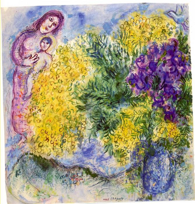 Marc CHAGALL Mimosas et Iris 40800 1146. часть 4 - европейского искусства Европейская живопись
