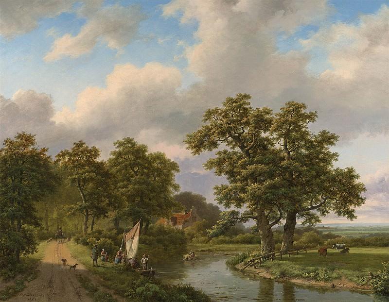 Marinus Adrianus Koekkoek Wooded landscape with figures and cattle by a river 76963 20. часть 4 -- European art Европейская живопись