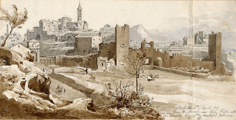 Ludwig Gruner View of Viterbo from the Porta Faule 1837 122587 1124. часть 4 -- European art Европейская живопись