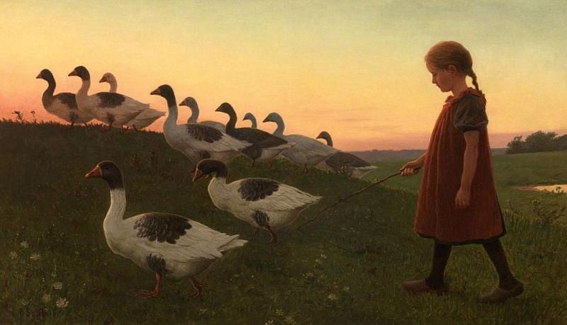 Poul Steffensen Young Girl with Geese 37537 121. часть 4 - европейского искусства Европейская живопись