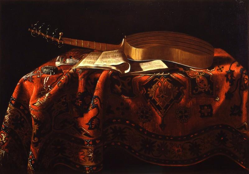 Michel Boyer attribuГ© Г Nature morte avec une guitare un cahier de musique une montre sur un tapis 16467 203. часть 4 -- European art Европейская живопись