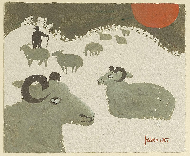 Mary Fedden Sheep in the snow 98360 20. часть 4 -- European art Европейская живопись