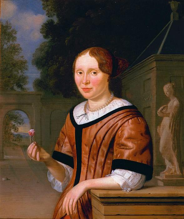 Pieter Cornelisz van Slingeland Portrait of a lady half length wearing pink& holding a rose 100259 20. часть 4 - европейского искусства Европейская живопись