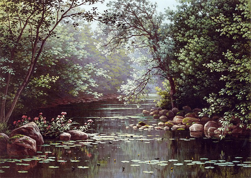 Rene Charles Edmond His River Landscape in Summer 12059 2426. часть 4 -- European art Европейская живопись