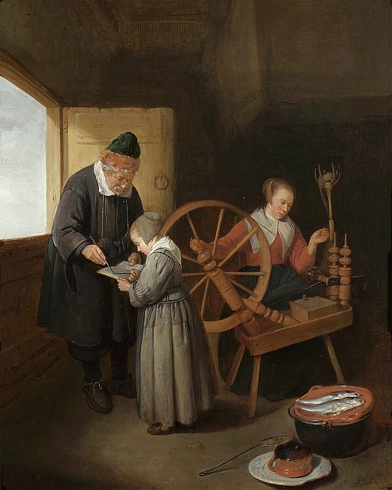 Quiryn Gerritsz van Brekelenkam Interior with a School Master teaching a young girl to read with a young woman seated at a spinning wheel 27964 20. часть 4 -- European art Европейская живопись
