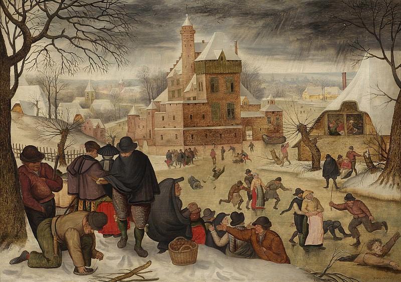 Pieter Brueghel The Younger Winter landscape with skaters 30302 20. часть 4 - европейского искусства Европейская живопись