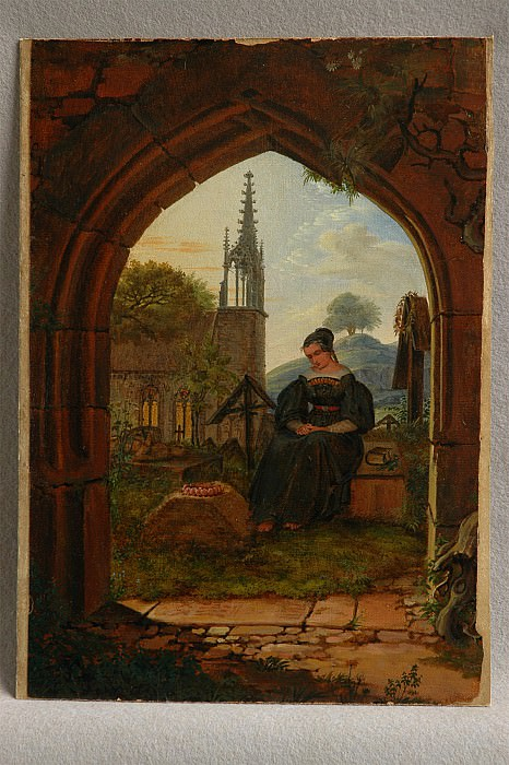 Ludwig Emil Grimm Mourning Girl at the Cemetery 78939 1124. часть 4 -- European art Европейская живопись