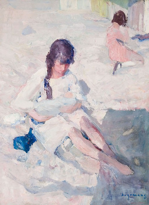 Maurice WAGEMANS Woman with Child on the Beach 32126 617. часть 4 -- European art Европейская живопись