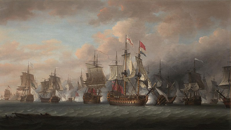 Nicholas Pocock Admiral Rodneys flagship Formidable 98 guns raking the enemy at the beginning of The Battle of the Saintes 12th April 1782 28535 20. часть 4 -- European art Европейская живопись