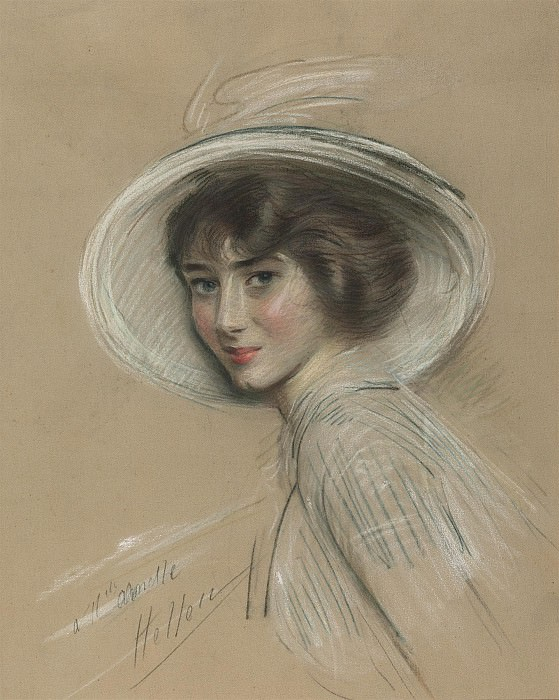 Paul Cesar Helleu Portrait of Annette wearing a white hat 28336 20. часть 4 -- European art Европейская живопись