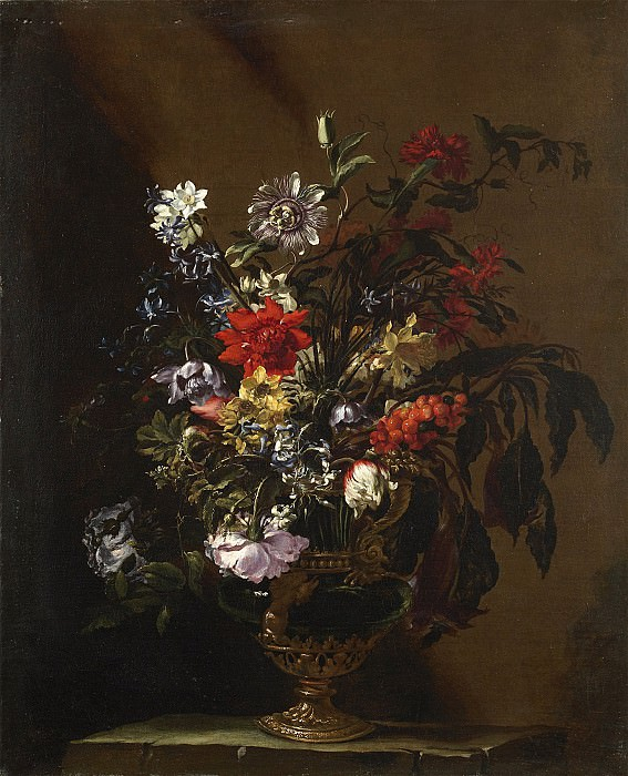 Mario Nuzzi dit Mario deFiori Vase de fleurs sur un entablement 16468 203. часть 4 -- European art Европейская живопись