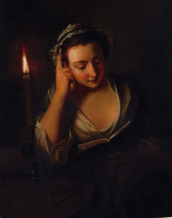Philip Mercier A young girl reading by candlelight 32063 184. часть 4 -- European art Европейская живопись