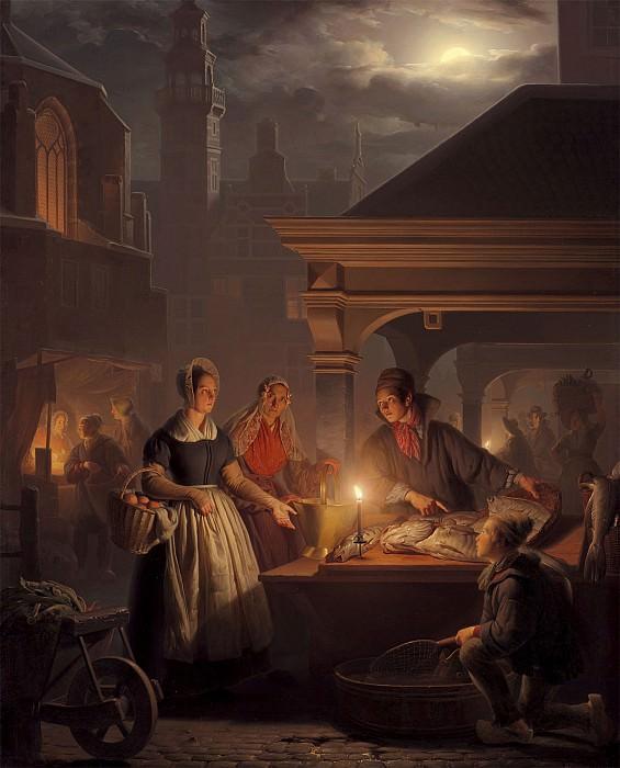 Petrus van Schendel The Fish Market 100039 20. часть 4 - европейского искусства Европейская живопись