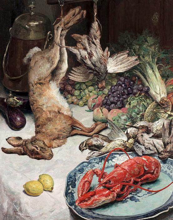 Oswald POREAU Still life of lobster and game 33225 617. часть 4 -- European art Европейская живопись