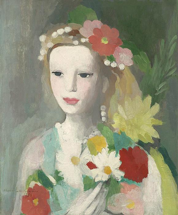 Marie Laurencin Jeune fille a la guirlande de fleurs 40242 20. часть 4 - европейского искусства Европейская живопись