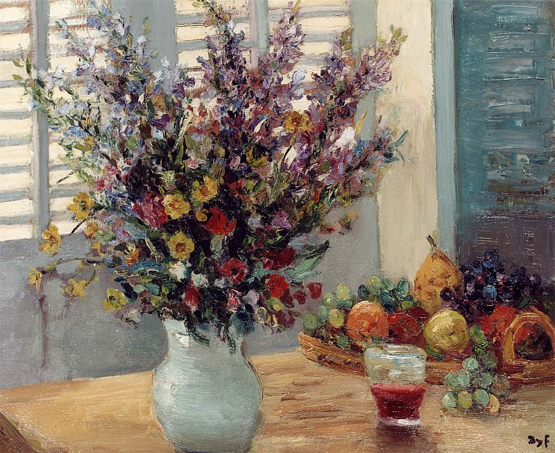 Marcel Dyf A Vase of Flowers & Fruit on a Table 11996 2426. часть 4 -- European art Европейская живопись