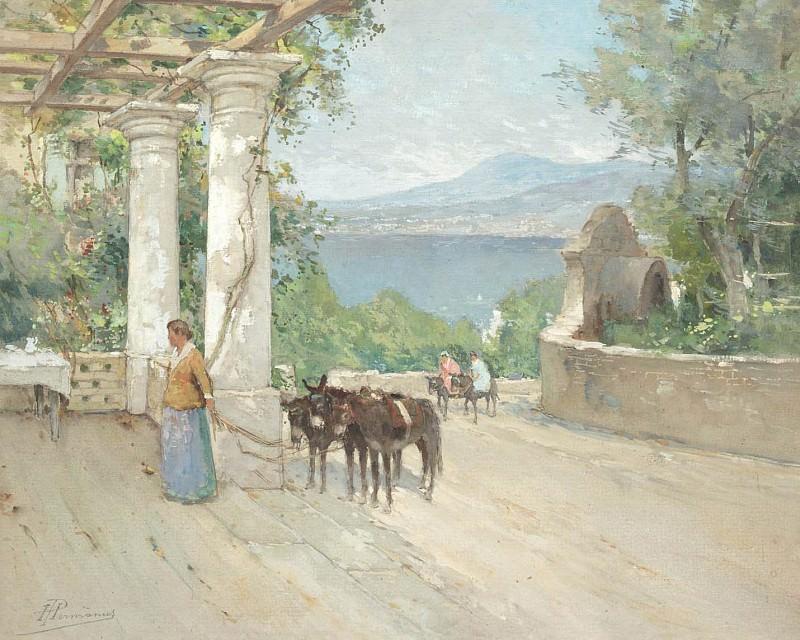 Paul HERMANUS Lady with mules on terrace 37736 617. часть 4 -- European art Европейская живопись
