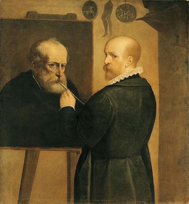 Luca Cambiaso The Artist Painting His Father 16058 203. часть 4 - европейского искусства Европейская живопись