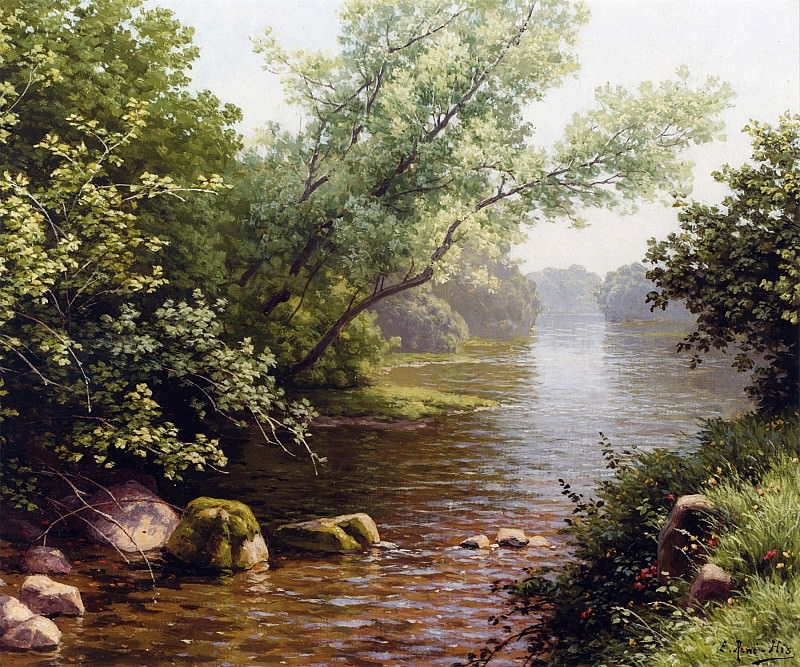 Rene Charles Edmond His A River Scene in France 12058 2426. часть 4 -- European art Европейская живопись
