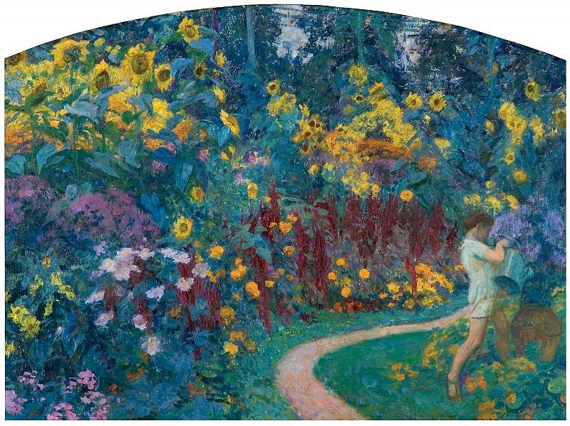 Octave Denis Victor Guillonnet Au jardin 3415 1184. часть 4 -- European art Европейская живопись