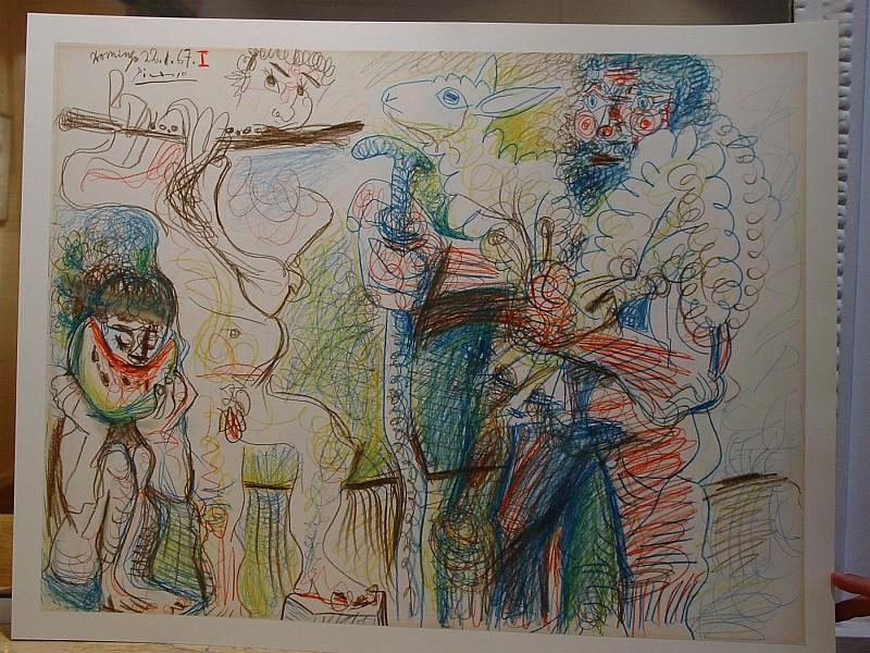 Pablo PICASSO Homme mangeur de pastГЁque et flГ»tiste 89527 1146. часть 4 - европейского искусства Европейская живопись