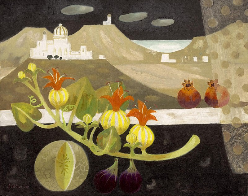 Mary Fedden Still life with pomegranates figs and melon 98367 20. часть 4 -- European art Европейская живопись