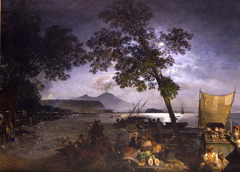 Oswald Achenbach Moonlit Scene of the Bay of Naples 32617 172. часть 4 -- European art Европейская живопись
