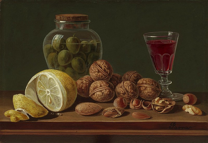 Miguel Parra Still life with Walnuts a jar and wine glass 99699 20. часть 4 -- European art Европейская живопись