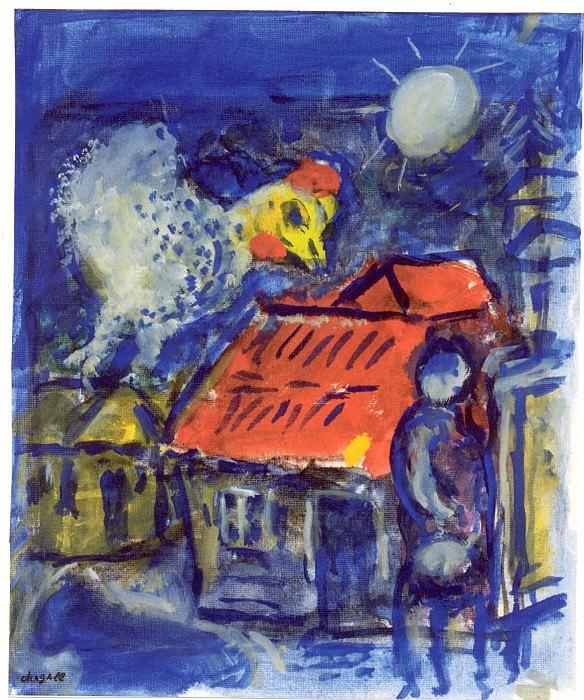 Marc CHAGALL Coq au dessus du toit rouge 40811 1146. часть 4 - европейского искусства Европейская живопись