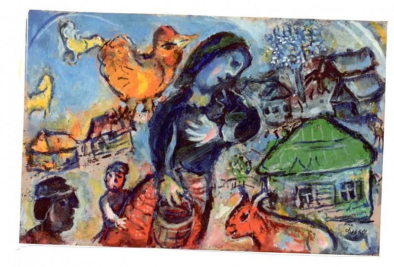 Marc Chagall ScГЁne de village au coq jaune 40662 1146. часть 4 -- European art Европейская живопись