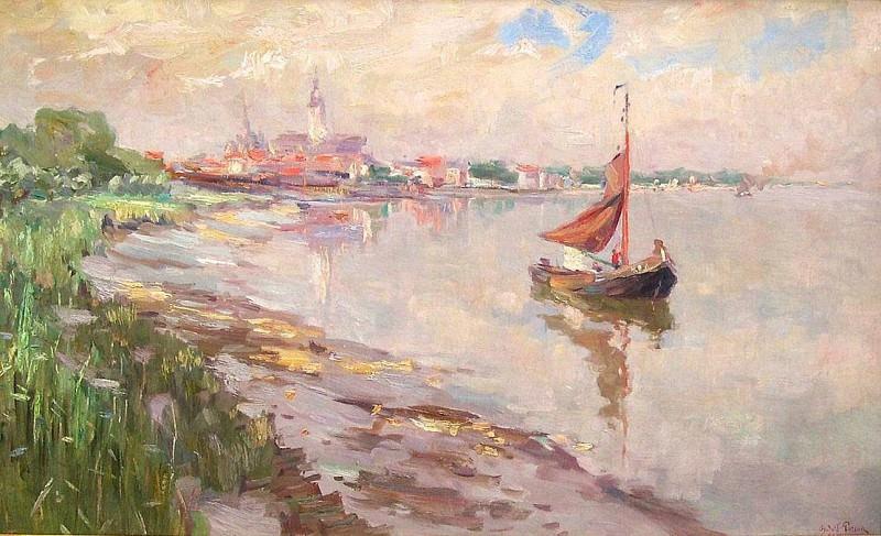 Oswald POREAU Boats on the Schelde 32121 617. часть 4 -- European art Европейская живопись