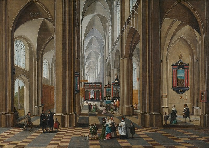 Pieter Neeffs The Elder The interior of a cathedral with elegant company a service in progress in a side alter 61939 20. часть 4 -- European art Европейская живопись