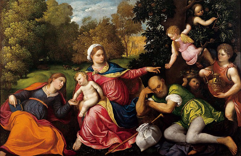 Paris Bordon Rest on the Flight into Egypt with Saint Catherine and Angels 5140 203. часть 4 -- European art Европейская живопись