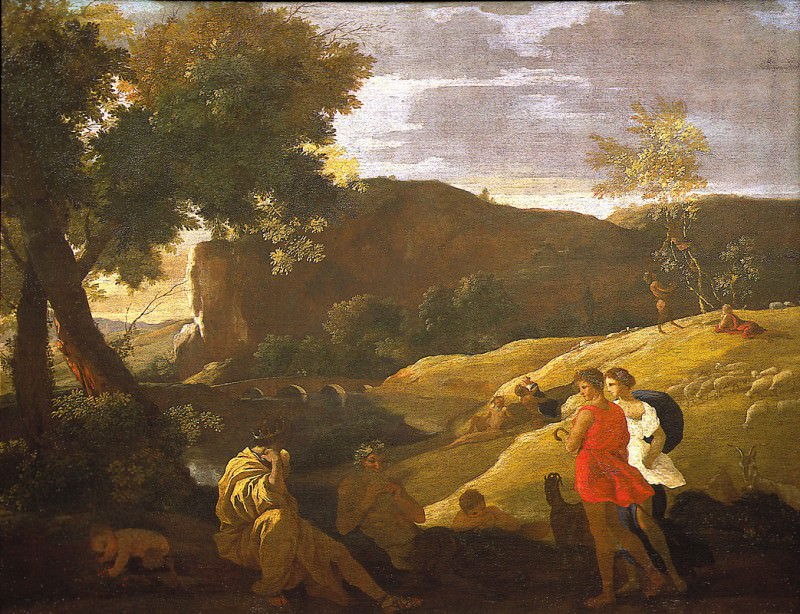 "NICOLAS POUSSIN ""An Arcadian Landscape with stories from the legends of Pan and Bacchus"" 33380 316. часть 4 -- European art Европейская живопись"