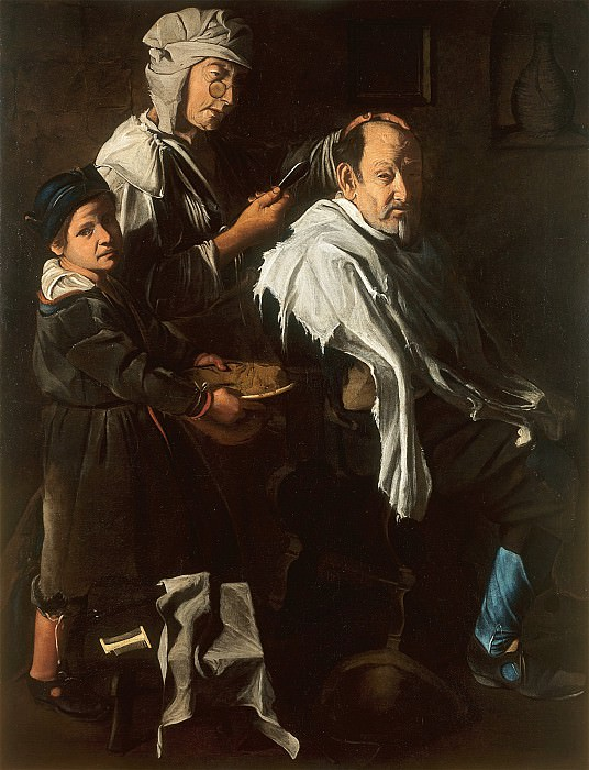 Maestro della Tela Jeans active in Lombardy during the second half of the 17th sup century The Barbers Shop 16955 203. часть 4 -- European art Европейская живопись