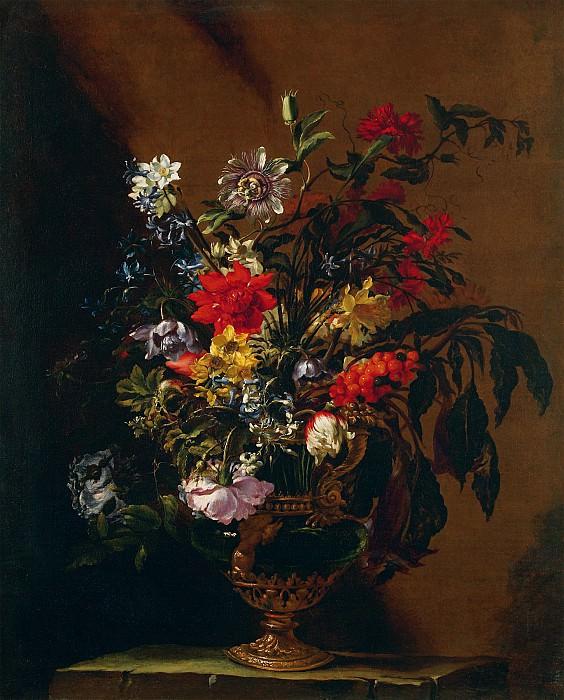 Nuzzi Mario called Mario deFiori Flowers in a Vase on a Stone Ledge 17942 203. часть 4 - европейского искусства Европейская живопись