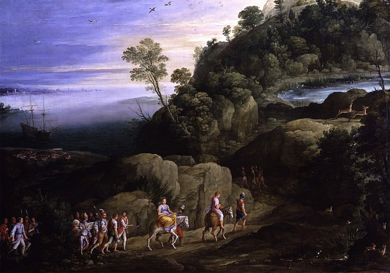 PAUL BRIL A wide Wooded and Mountainous Coastal Landscape with Brigands abducting Theagenes and Chariclea 11642 172. часть 4 -- European art Европейская живопись
