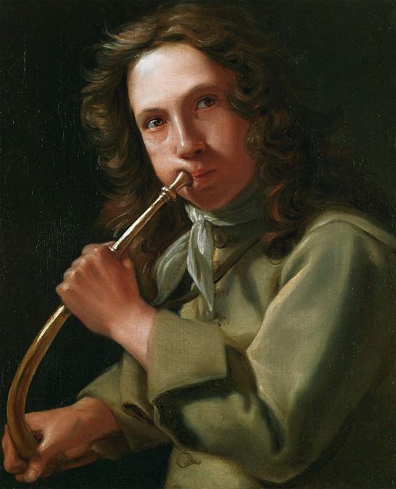 Michael Sweerts Portrait of a Young Man playing a Hunting Horn 17931 203. часть 4 - европейского искусства Европейская живопись