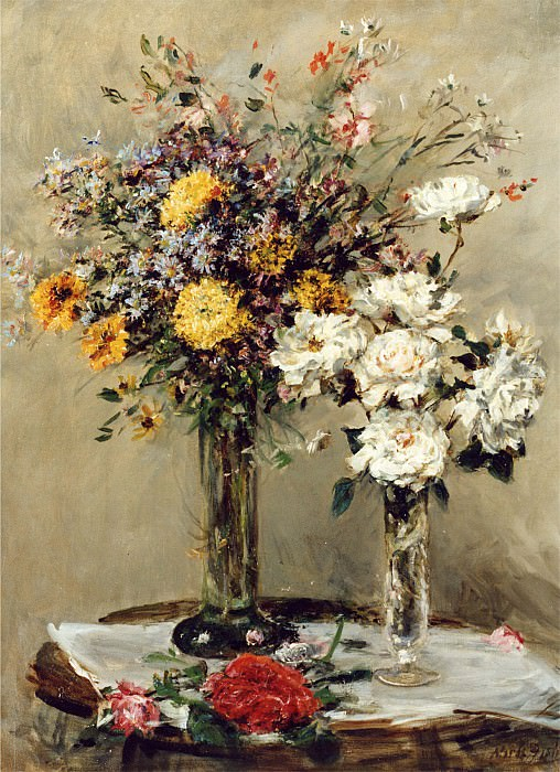 Mark Fisher Flowers in Two Glass Vases on a Table 12037 2426. часть 4 -- European art Европейская живопись