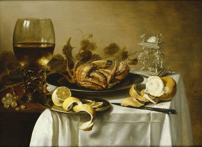 Pieter Claesz Still life with a roemer and a crab 97999 20. часть 4 -- European art Европейская живопись