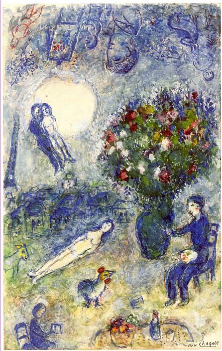 Marc CHAGALL Le peintre au bouquet de fleurs 40810 1146. часть 4 - европейского искусства Европейская живопись